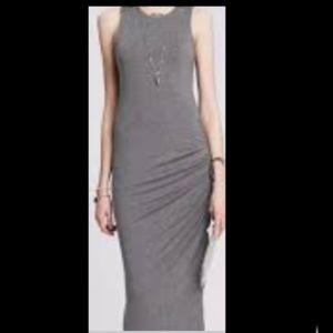 Grey rushed sleeveless  Banana Republic long dress